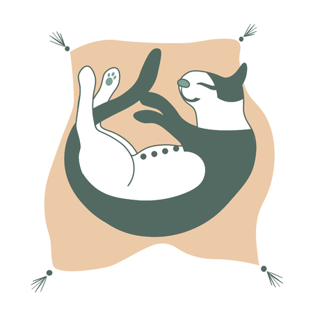 nice and cute happy cat on the pillow - vector. flat Ilustrace