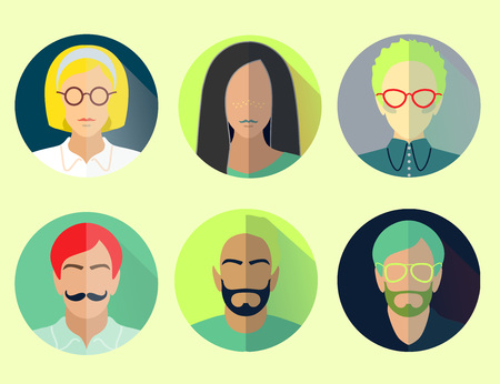 group professional men and womans flat material design icon light