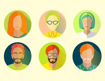 group hipsters men and womans flat material design icon