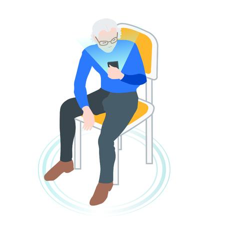 man using digital gadget sitting on the chear- vector. flat illustration