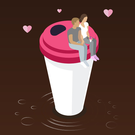 Young man and woman drinking coffee together set on a coffee cup- vector. flat illustration Ilustração
