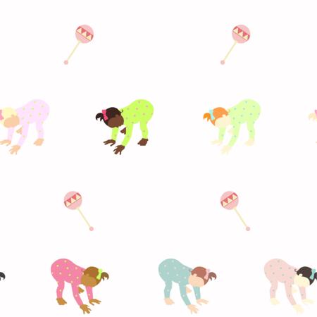 Bebé multinacional. Conjunto multiétnico de bebés que gatean Diferentes nacionalidades.