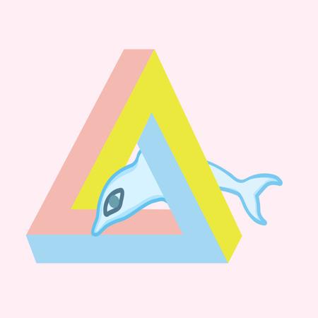sense illision triangle Dolphin vector color pattern
