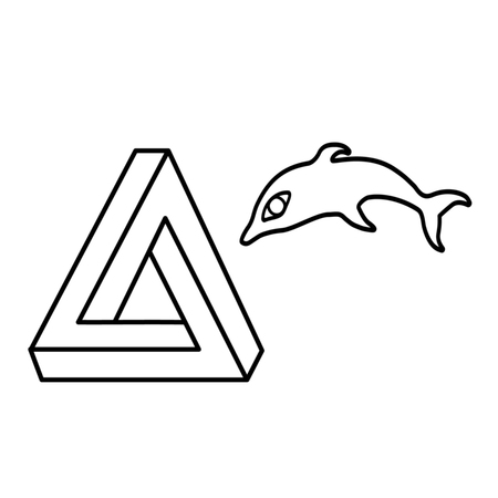 sense illision triangle Dolphin vector pattern linear black and white