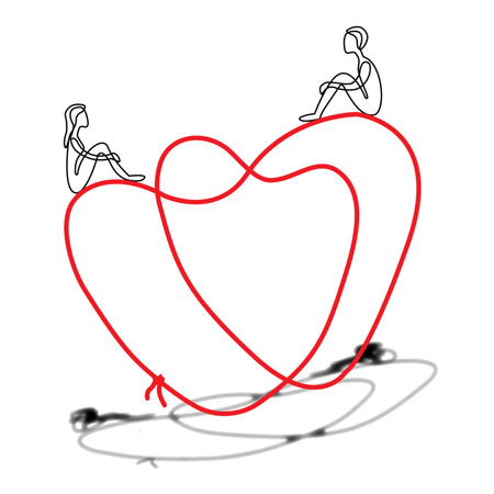 two lovers man and woman is seeting on heart black white and red logo