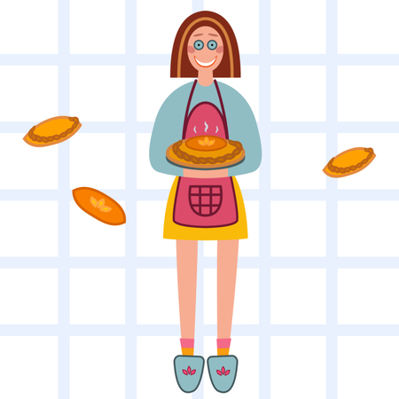 Vector illustration of girl who made homemade pie. Иллюстрация