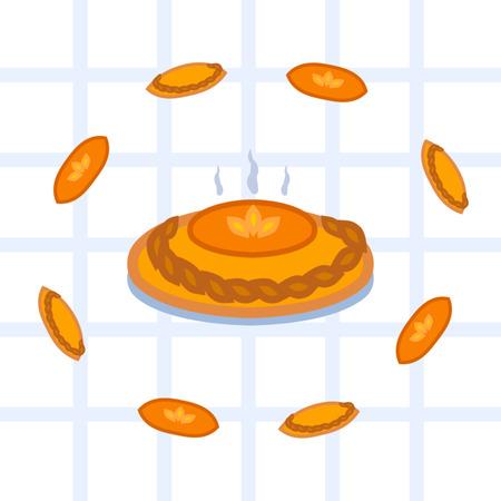 Ilustración de vector de niña que hizo tarta casera.