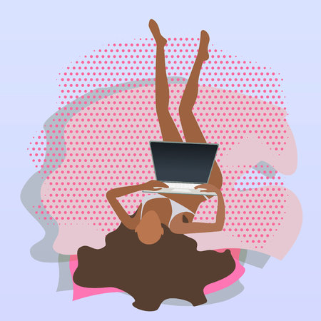 brown skin and hears girl or yang woman with a laptop on the bed teleworker freelancer