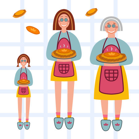 Vector illustration set contaned girl, woman and grandmother who made homemade pie. Banco de Imagens - 124170770