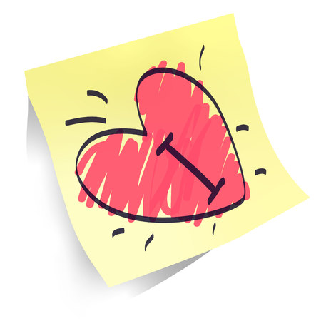 heart shapes handwritten on paper sticker isolated, declaration of love red and black marker