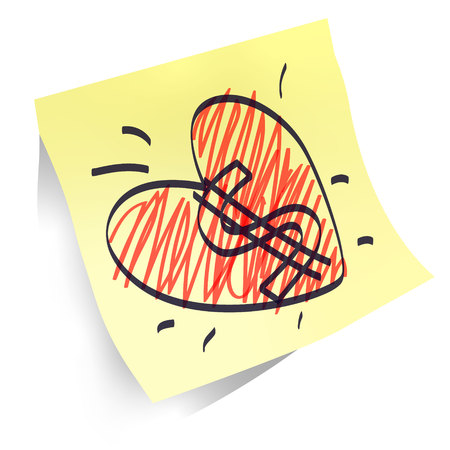 heart shapes handwritten on yellow paper sticker isolated, declaration of love and sucsess money goal many dollars and have fun red and black marker