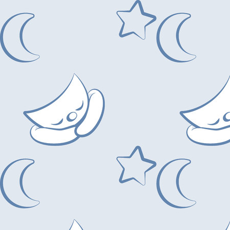 Watercolor seamless pattern with cute sleeping moon crescent and clouds isolated on white background. Birthday children decoration kid illustration with little cat kitten blue Banco de Imagens - 124119044