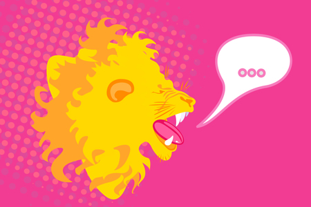 Abstract graphic design of roaring lion for t-shirt or banner print. Vector illustration