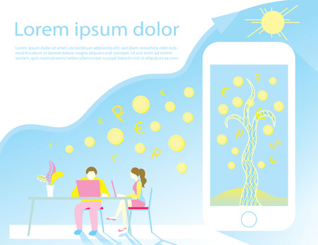 developers create mobile app and software for grow and developing business processes sunny day