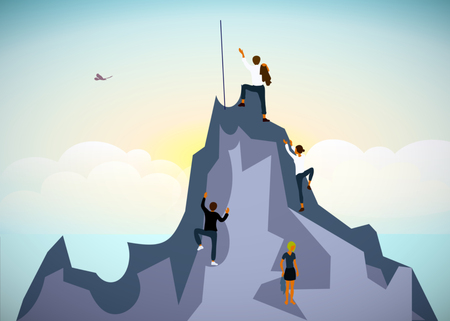 Motivation art a man jumping over precipice to goal. command team get up to the rock under the sea, sunrise, sucsess. Achieve goal, business goals, challenge and success concept