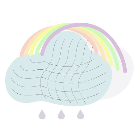 Climate icon with cloud, rain and rainbow. Isolated vector illustration sun and wind icon. Climat icon. Banque d'images - 124034126