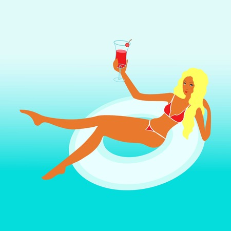 Amazing girl or yang woman with blond hears swims in a circle for swimming by the sea in bicini with a tropical coctail
