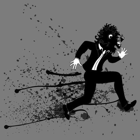 Businessman run with lion animal head. Business metaphor in minimalistic flat style. Cartoon vector illustration Ilustração