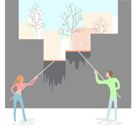 Couple people yang men and womanclean the window, Ilustração