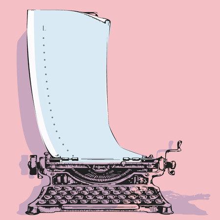 Máquina de escribir vintage dibujada a mano con papel. Publicación de bocetos. Concepto de amor de ilustración vectorial. poema de amor, poesía, declaración de amor. Ilustración de vector de diseño de plantilla de logotipo de letra l Logos