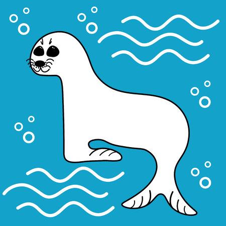 Little cute seal in the ocean in cartoon flat style for poster. Reklamní fotografie