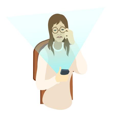old woman using digital gadget sitting on the chear- vector. flat illustration Ilustração