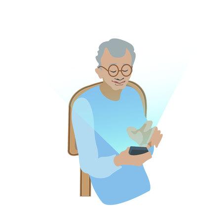 old man using digital gadget sitting on the chear- vector. flat illustration. educations for old people Ilustração