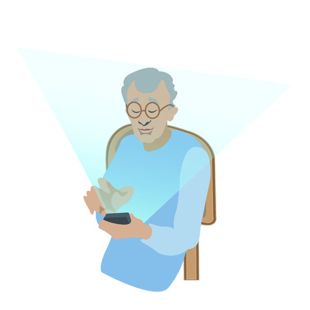 old man using digital gadget sitting on the chear- vector. flat illustration Ilustração