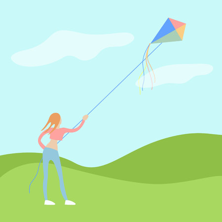 yang woman flies a kite on open air with a good wether and wind. flat moderm vector illustration