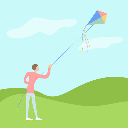 yang man flies a kite on open air with a good wether and wind. flat moderm vector illustration Vettoriali