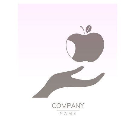 Creative icon apple in hands, logotype template. Fruit symbols of save nutrition. Vegetarian and health concept. Vector illustration