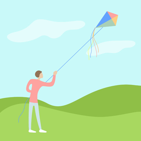 yung man flies a kite on open air with a good wether and wind. flat moderm vector illustration
