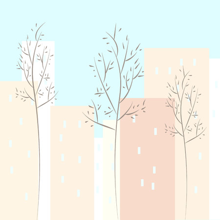 Nonlinear houses look out of the picture. Flat cartoon style vector spring city street. Tree houses on Street cityscape. Day city landscape with pink bloming trees with green lawns in the foreground
