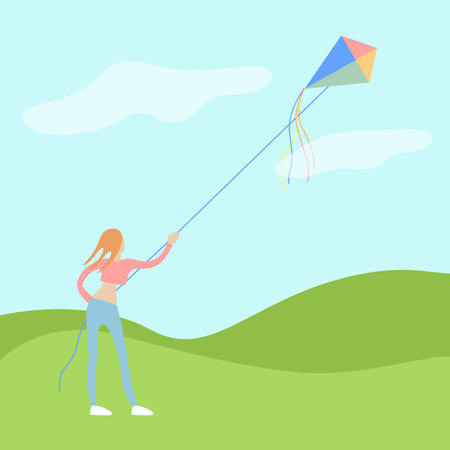 yuong woman flies a kite on open air with a good weather and wind. . flat moderm vector illustration Illustration