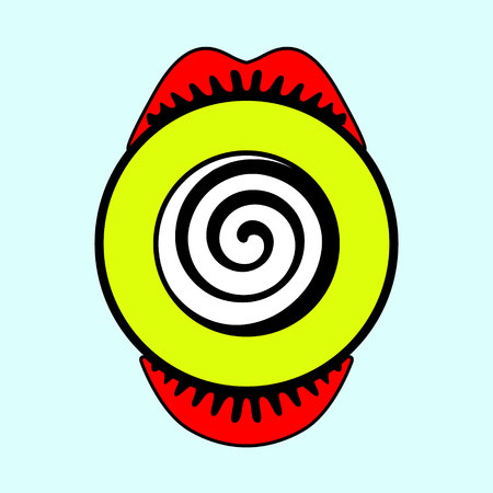 Wow female month and crazy eye with eyelushes, pop art poster different light color