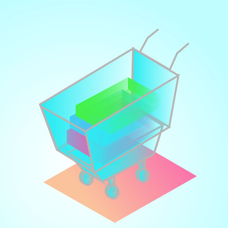 isometric 3d illustration supermerket trolley with things ofice manager for ux ui web page or APP