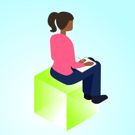 isometric 3d illustration progect manager for ux ui web page or APP