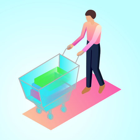 isometric 3d illustration ofice manager supermerket trolley with things for ux ui web page or APP Ilustração