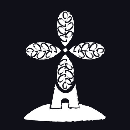 Panetteria, logo o etichetta artigianale del forno. Mulino a vento, simbolo del mulino, vettore Logo