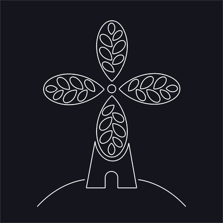 Bakery, bakehouse craft logo or label. Windmill, mill symbol, vector, Vettoriali