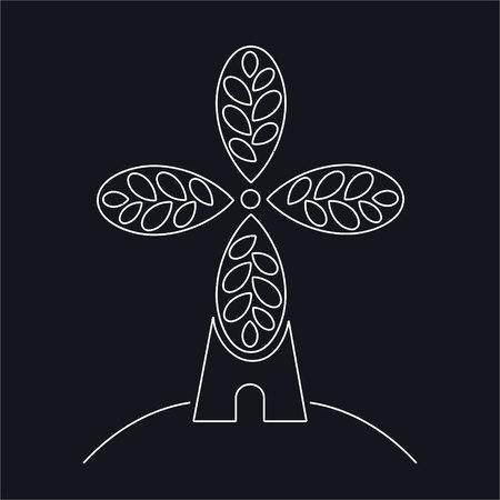Panetteria, logo o etichetta artigianale del forno. Mulino a vento, simbolo del mulino, vettore