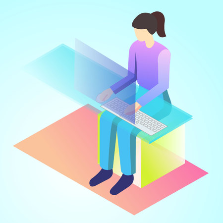 isometric 3d illustration copywriter for ux ui web page or APP