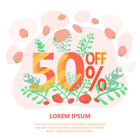 advertising illustration big sale 50 off, spring concept with sweet red berries Illustration