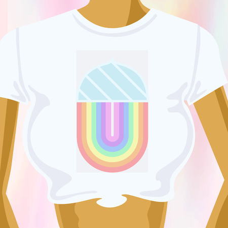 concept art sweet, cute and sexy womans chest in t shirt with design rain-bow and ice-cream logo, icon