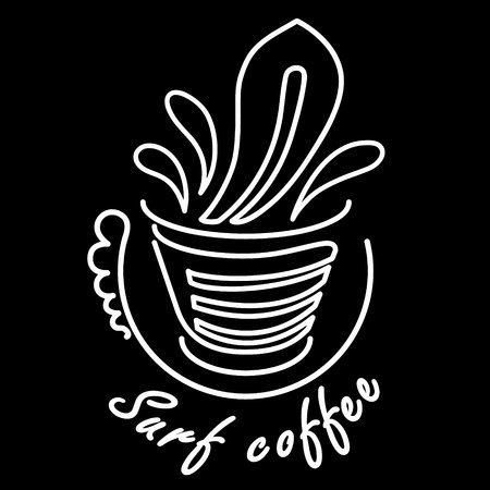 coffee logo in hand with wave and surf