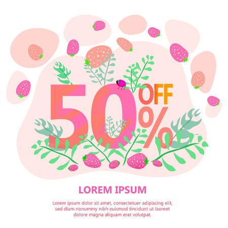 advertising illustration big sale 50 off, spring concept with sweet red berries Çizim