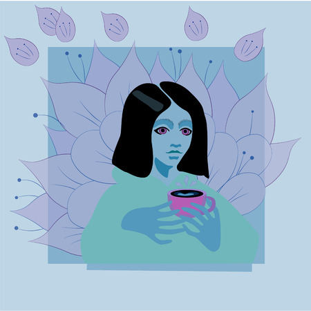Vector illustration of a girl holding paper cup of coffee with flowers on background. Light color flat design of coffee-to-go for mobile app, web page, article, t-shorts and decorative print.