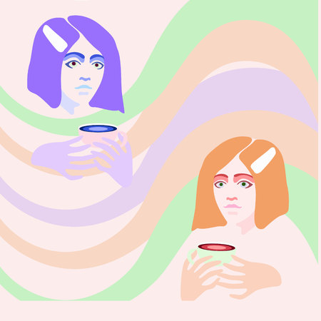 Vector illustration of two girls who holding paper cup of coffee with abstract print on background. Light color flat design of coffee-to-go for mobile app, web page, article, t-shorts or print.