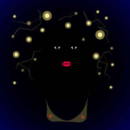 art illustration African woman on dark background with dark hair and stars in her hears Stock Photo