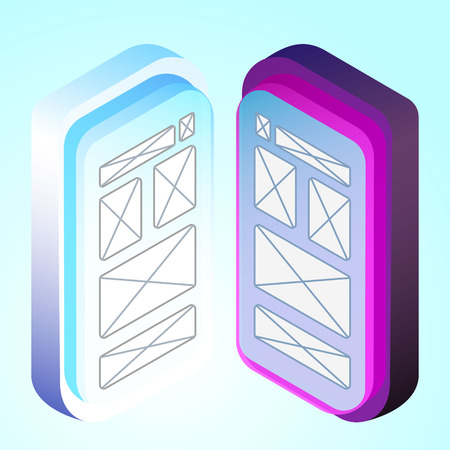 isometric 3d illustration mobile phone for ux ui web page or APP